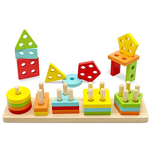 TOLOLO Montessori Toys for 1 2 3 Year Old Boys Girls, Educational Learning Toy for 1-4 Year Old Boy Girl Gifts, Shape Sorter Sensory Toys for Toddlers 1-3, Wooden Color Recognition Stacker Puzzle Toys