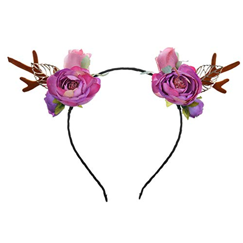 Lurrose kinderen meisjes Halloween headwear hoofdband hertengewei bloem haarband kerstfeest kostuum foto rekwisieten