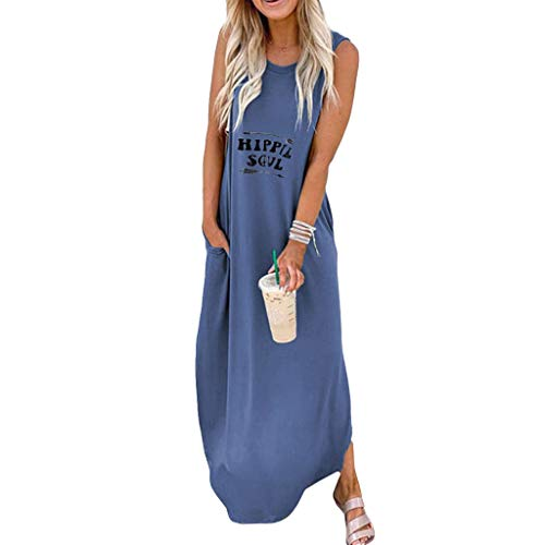 QueenMM Women's Casual Sleeveless Loose Dress Round Neck Long T-Shirt Dresses with Pockets Plus Size