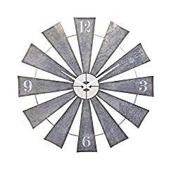 "CC Home Furnishings 48"" Steel and Pewter Gray Weathered Windmill Wall Clock"