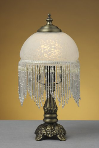LED-Tischleuchte Weide Landhaus-Stil messing-antik Glasschirm, inklusive LED Leuchtmittel E14-2Watt...