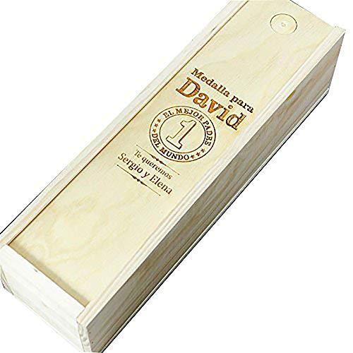 Regalo Personalizado para Padres: Caja de Madera Personalizada para Vino (Caja 'Mejor Padre del Mundo')