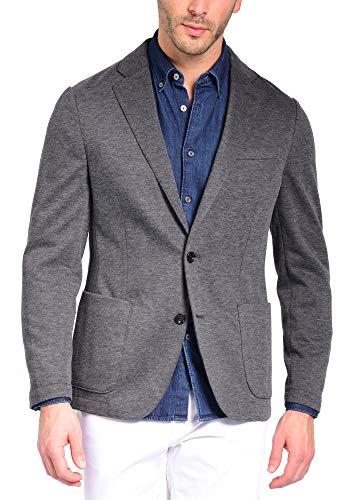 Mens Slim Fit Casual One Button Blazer Jacket (302 Grey, XL)