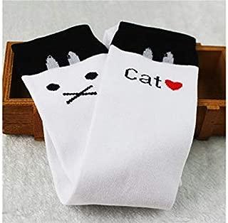 Lovely Socks Children Cotton Mesh Socks Kids Spring and Autumn Cats Patterns Mid Tube Stocking(White) Newborn Sock (Color : White)