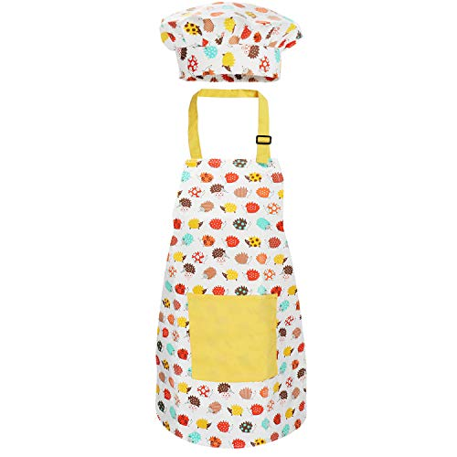 Kids Apron Set with Chef Hat, Cute Child Baking Aprons with Adjustable Neck Strap and Pockets for Girls Boys Cooking Baking Painting Gardening in 2 Sizes (Yellow Hedgehog, Small)