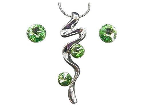 Juego de cadena y auriculares con cristales Swarovski peridoto Verde