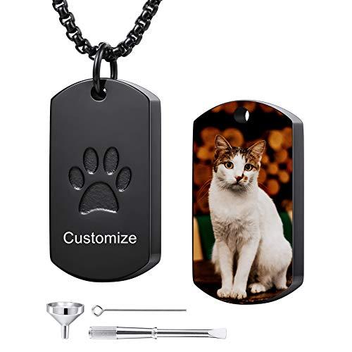 MeMeDIY Collar de Cenizas Urna con Estampado de Pata Personalizado Grabado de Foto/Nombre/Texto para...