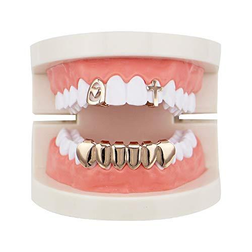 Top Bottom Tooth Caps für den Mund Gold 2 Oben und 6 unten Grills Set Shiny Hip Hop Teeth Grills (Farbe : Rose Gold)