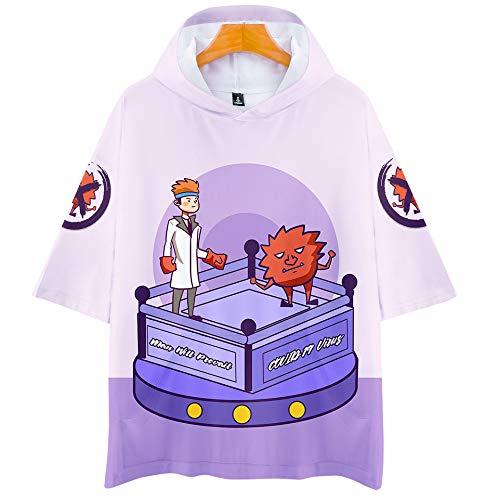 YDXH Maglia con Cappuccio COVID-19 Virus New Crown Virus Incappucciato a Manica Corta Trendy T-Shirt,XXXXL