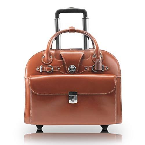 McKlein, L Series, EDGEBROOK, Top Grain Cowhide Leather, 15' Leather Wheeled Ladies' Laptop Briefcase, Brown (96314)