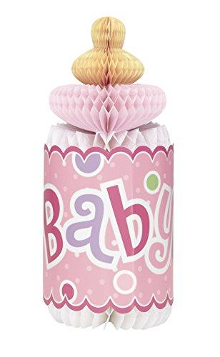 Unique Party - Decoraciones de Baby Shower - 30 cm - Decoración en forma de Botella de Lunares Rosa en forma de Panal (61721)