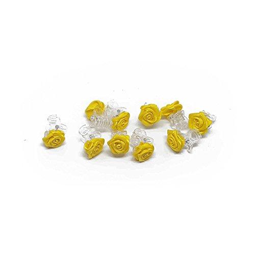 10 x Rosen auf Haarklammer - Brauthaarschmuck - Rosenhaarklammern - Gelb