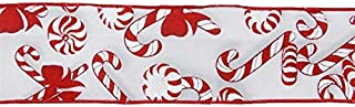 Candy Canes and Peppermints on Canvas Wired Edge Ribbon - 10 Yards (Red, White, 2.5 Inch)