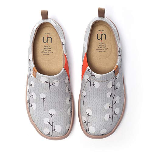 UIN Women's Nude Cotton Fashion Art Sneaker Painted Canvas Slip on Travel Shoes (8.5)
