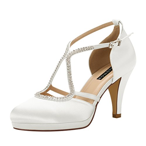ERIJUNOR E0260D Women Comfort Low Heel Closed-Toe Ankle Strap Platform Satin Bridal Wedding Shoes Ivory Size 7