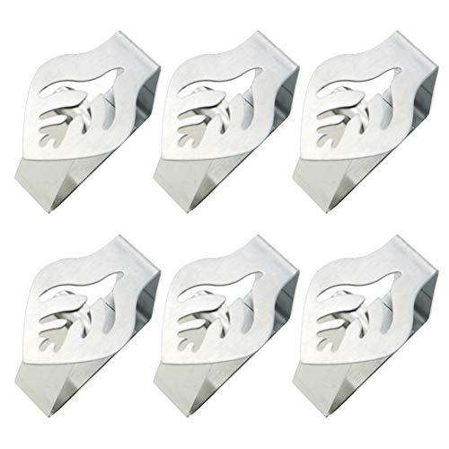 Tischdeckenklammern – 4 oder 6 Stück dekorative Edelstahl-Tischdeckenklammern – Tischtuchhalter, Clips für Zuhause, Picknick, Grillen, Hochzeit, DIY, Party Free Size Blatt 6 Stk