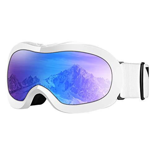 VELAZZIO Kids Ski Goggles, Snowboard Goggles OTG Snow Goggles Anti-Fog Double-Layer Lenses, 100% UV Protection (White Frame/Grey Lens with REVO Blue Coating (VLT 17%))