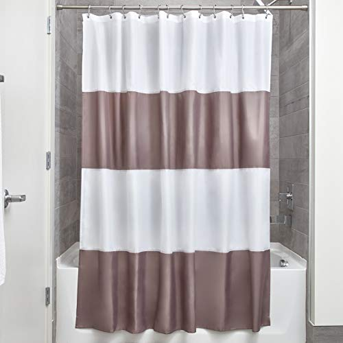 Price comparison product image iDesign Zeno Fabric Shower Curtain,  Long Polyester Shower Screen with Block-Colour Pattern Design,  Dark Taupe / White