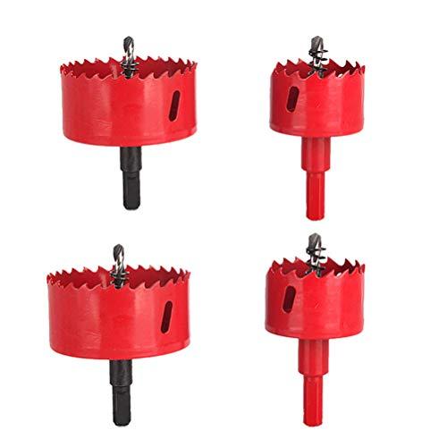 DOITOOL 4 piezas kit de sierra para agujeros para madera y metal juego de sierra perforadora con eje para tableros de agujero (Rojo,16,18,19,20mm)