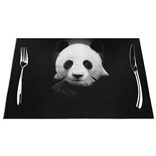 VOROY Panda-Platzsets für Esstischdekoration, quadratisch, mit PVC, waschbar, hitzebeständig, für den Innenbereich, 6...