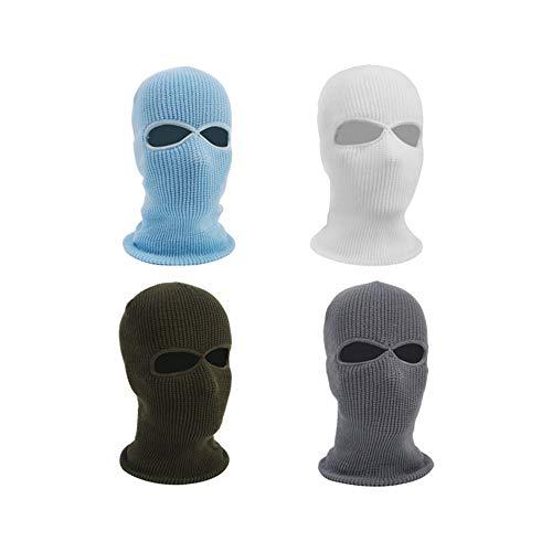 bliss 4 Pack 3-Hole Knit Sew Ski Mask Balaclava, Outdoor Full Face Cover Thermische snowboard Masker, Volwassen Warm Beanies voor Motorfietsen Fiets, blauw+wit+groen+grijs, 2hole