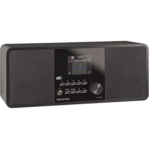 Telestar IR 200 Internet/DAB+ Digitalradio (Stereo Sound, UKW, WLAN, LAN, Aux-In, Line-Out, Kopfhörer Ausgang inkl. Netzteil), Farbe:schwarz