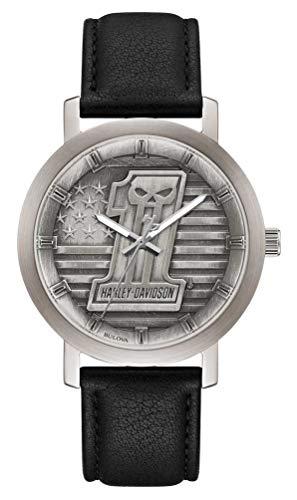 Harley-Davidson Men's #1 Skull Stars & Stripes Watch w/Leather Strap 76A163