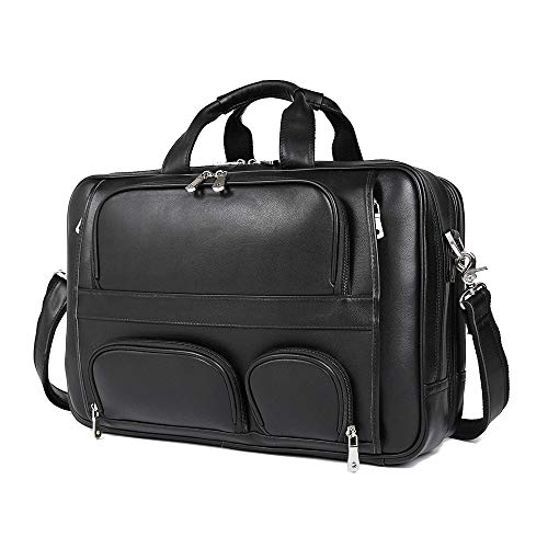 HAOHAOCHENG-WL Europese en Amerikaanse stijl lederen zakelijke herentas grote lederen Aktetas 17 inch laptoptas comfortabel
