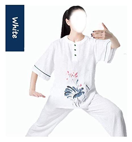 Soft Tai Chi Suit Meditation Zen Cotton Flax and Silk Martial Arts Training Clothes Natural Eco-Friendly Breathable Soft,Easy to Clean 1103 (Color : White, Size : Small)