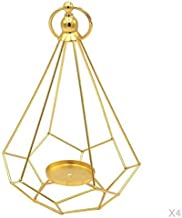 MagiDeal 4pcs Geometric Diamond Shaped Alloy Framed Tea Light Candle Holder Candlestick for Cafe Bar Hanging Decor Photo P...