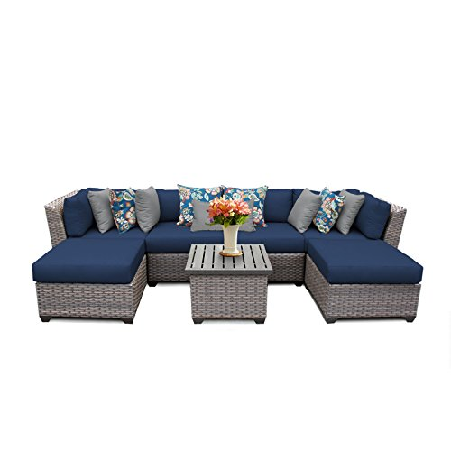 TK Classics FLORENCE-07a-NAVY Florence 7 Piece Outdoor Wicker Patio Furniture Set, Navy
