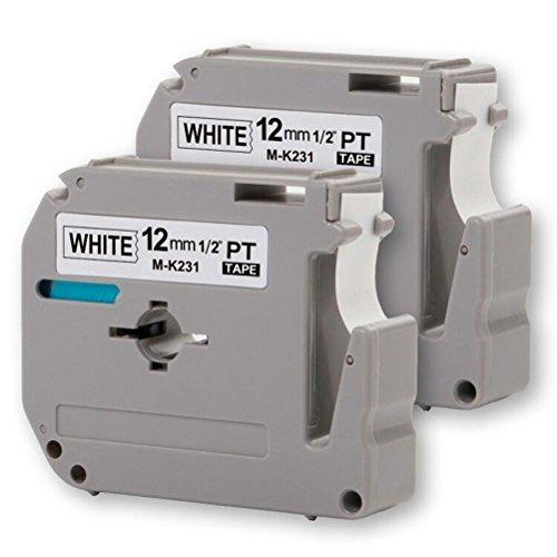 2-Pack Compatible P-Touch M Tape M231 MK231 M-K231 M-231 Label Tape, Replace for P Touch PT-70BM,PT-M95,PT-90,PT-70,PT-65,PT-70SR,PT-85, 1/2 Inch x 26.2 Feet(12mm x 8m),Black on White