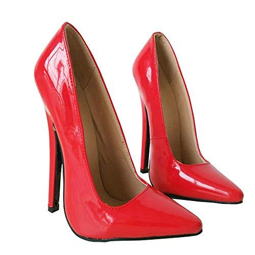 TIKENBST High Heels Fetisch Absätze Unisex 18cm Schuhe High Heels Extrem Spitze Zehen Sexy Dünne Absätze Hochzeitsfeier Sommer,Red-38