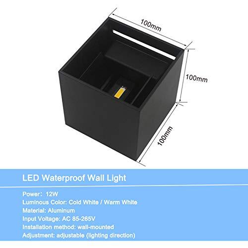 Led-buitenverlichting, kandelaar, waterdicht, voor badkamer, slaapkamer, decoratie, huis, lamp, model Cube_Black_shell_6W_Warm_wit