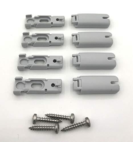 COSIFLOR Spannschuhe für verspannte Plissees (4 Stück) – Farbe: grau – passend für Stick & Fix Klebeträger und Stick & Fix Front Klebeplatten