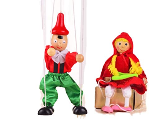 SPARIK ENJOY 2 Packs Boy Girl Hand Marionette Puppet Children\'s Wooden Marionette Toys Colorful Long Nose Marionette Puppet Doll Parent-Child Interactive Toys- Lovely Red Girl and Boy Color Random