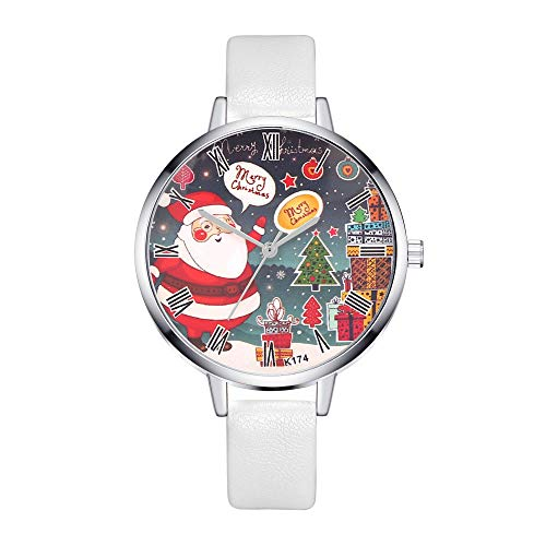 Godagoda - Reloj de Cuarzo con diseño de Papá Noel con números Romanos y Esfera Redonda