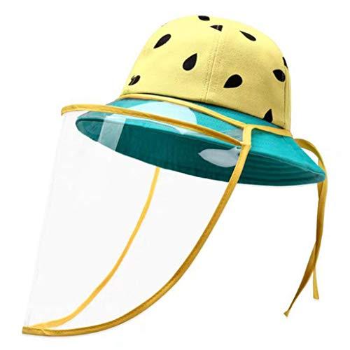 1-1 2Pack Chapeaux de pêcheur pour Enfants,Chapeau de Plage pour écran Solaire pour Enfants, Casquette de Dessin animé en Coton, Masque de Protection pour Le Visage,Green-M