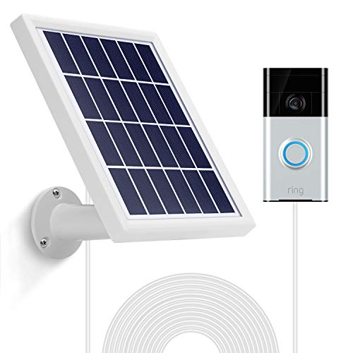 OLAIKE Solar Panel with 3.8m/12ft Power Cable for Video Doorbell 1st & 2nd Gen(2020 Release),Include Detachable Flexiable Wall Mount,Waterproof Charge Continuously(Camera not Included),White