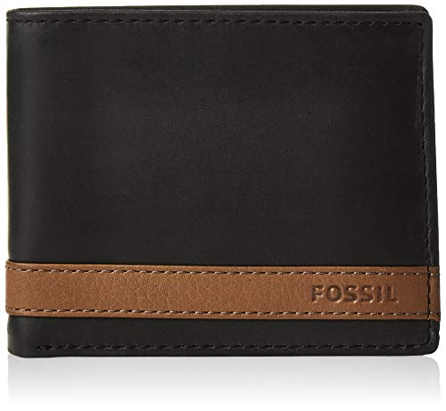 Fossil Men's Quinn Leather Bifold Flip ID Wallet, Black