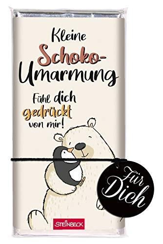 STEINBECK Schokolade 100g Tafel Schokoumarmung Geschenk Liebe Freundschaft von Herzen Pinguin Eisbär fühl Dich gedrückt