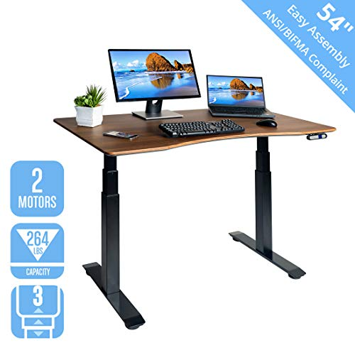 Seville Classics OFFK65826 AIRLIFT Pro S3 54' Solid-Top Commercial-Grade Electric Adjustable Standing Desk (51.4' Max Height) Table, Black/Walnut