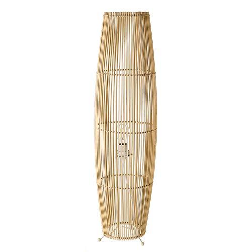 Lámpara de pie de cañas exótica de bambú natural y metal