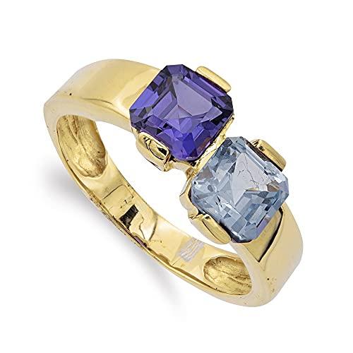 Sortija oro 18k mujer piedra aguamarina combinada amatista lisa