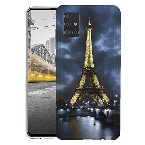 KX-Mobile Hülle für Samsung A51 Handyhülle Motiv 394 Eifelturm Paris Frankreich bei Nacht Blau Gelb Premium Silikonhülle SchutzHülle Softcase HandyCover Handyhülle für Samsung Galaxy A51 Hülle