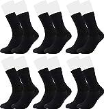 Vitasox 43033 Bambus Socken für Damen und Herren, atmungsaktive Bambussocken mit weichem Komfortb& ohne Gummi, Qualitäts Strümpfe gegen Schweiß ohne Naht an den Zehen, 6 Paar schwarz 39-42