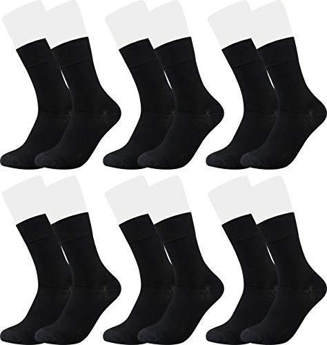 Vitasox 43033 Bambus Socken für Damen & Herren, atmungsaktive Bambussocken mit weichem Komfortbund ohne Gummi, Qualitäts Strümpfe gegen Schweiß ohne Naht an den Zehen, 6 Paar schwarz 39-42