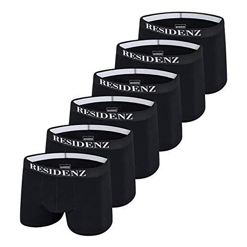 RESIDENZ Boxershorts Men Herren Unterwäsche Unterhosen Männer Jungen Retroshorts Baumwolle 6er Pack (M, Schwarz)