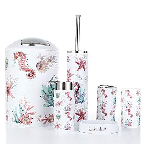 Cuasting - Juego de 6 accesorios de baño, dispensador de loción, soporte para cepillos de dientes, vaso, jabonera, escobilla de inodoro, papelera, color rojo