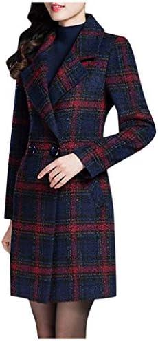 Veste Blazer Femme Manteau Manches Longues Grande Taille Coupe Slim Trench Long